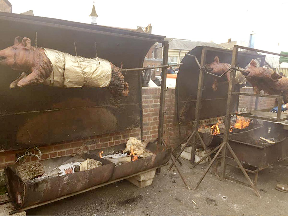 Hog roasting at Lewes Bonfire celebrations